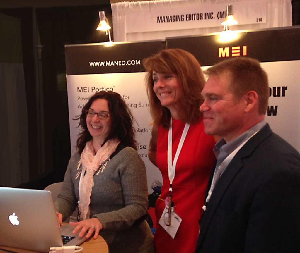 MEI's Deena Guagliardi shows off TruEdit to Meghan as Craig Roth looks on